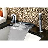 GuiXinWeiHeng Contemporary Country Art Deco/Retro Widespread Waterfall with Ceramic Valve Single Handle Three Holes for Chrome , Bathtub Faucet