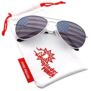 grinderPUNCH American Flag Aviator Sunglasses Glasses White Color