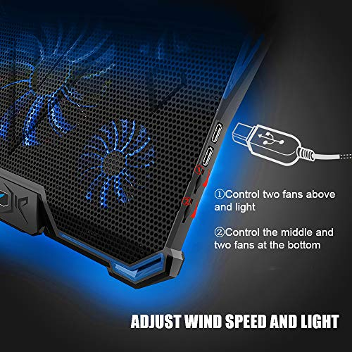 Wsky Cooler Laptop, Ultra Slim Cooling Pad for 12-18 inch Laptop with 5 Quiet Fans and Blue LED Light, Dual 2 USB 2.0 Ports, Adjustable Mount Stand Height Angle by Wsky (Image #2)