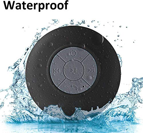 WYNCO Shower Speaker Bluetooth Waterproof Water Resistant Hands-Free Portable Wireless, Built-in Microphone, Solid Suction Cup, Long Play Time (Black)