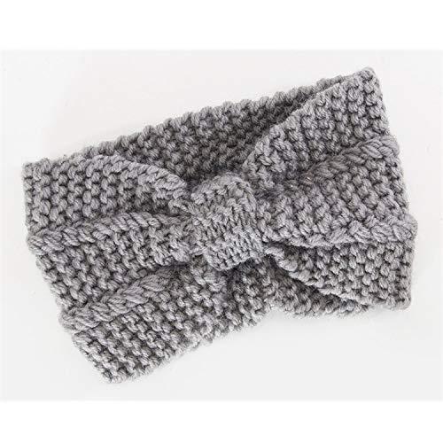 Women Winter Warmer Ear Headband Crochet Bow Wide Stretch Woolen Turban Bow Knot Wide Head WrapLight Grey