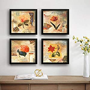 SAF Set of 4 Beautiful Preety Flower UV Coated Home Decorative Gift Item Framed Painting 19 inch X 19 inch SAF_SET4_4
