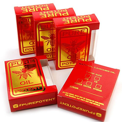 50 Red Gold Pure Potent Oil Tip Wax Display Packaging Boxes by Shatter Labels (Stickers Wax Box)