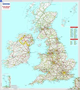 Great Britain And Ireland Michelin Encapsulated Wall Maps - Britain on a map