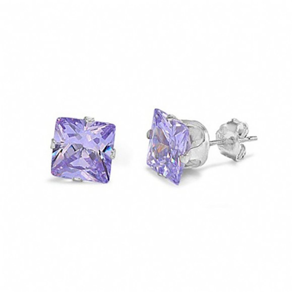 Stud Post Earring Princess Cut Simulated Lavender 925 Sterling Silver