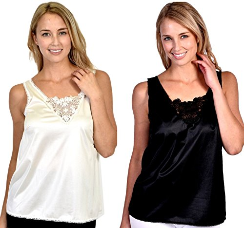 Patricia Lingerie Women's Anti-Static Camisole with Elegant Lace 2-Pack (Black/Ivory, - Daywear Camisole