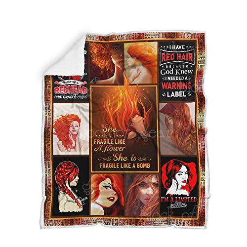 Geembi Redhead Girl Sofa Blanket TH664, Adult Sherpa Fleece Throw Blankets Bedding Blanket Reversible -Decorative Blanketed - Artwork Sherpa Blanket - Best Gift 2019