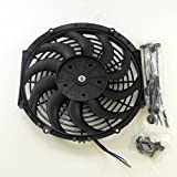 Set of 2 Universal Black 16 inch 12 Volt Slim Fan