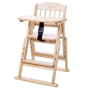 Chaise pliante Chaise haute en bois pour bébé avec plateau