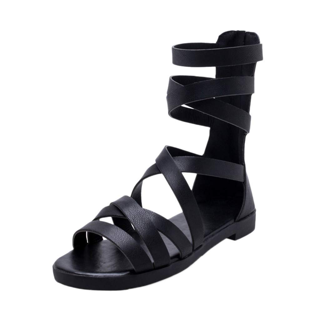 HENWERD Womens Open Toe Boots Low Sandals Ankle Buckle Summer Zip Cool Rome Shoes (Black,5 US)