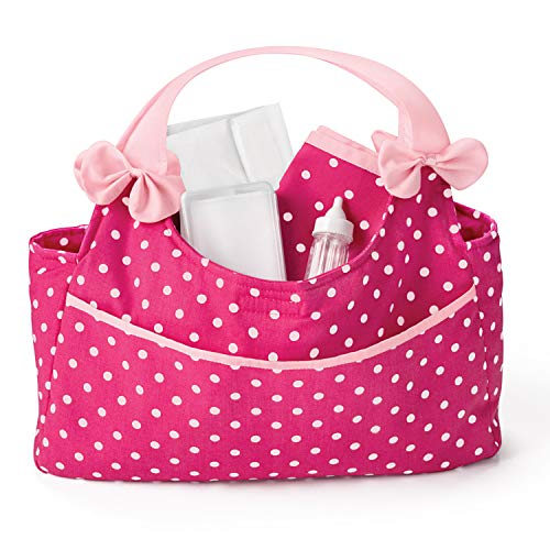 The Ashton-Drake Galleries Polka Dot Diaper Bag with Large Front Pocket & Inside Pouches Baby Doll Accessory Set