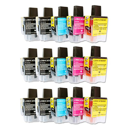 1840c Inkjet (YATUNINK Compatible for Brother LC41 Ink Cartridges 15 Pack for Brother DCP-110C DCP-120c Intellifax 1840C 1940CN 2440C MFC-210C MFC-3240C MFC-3340CN MFC-420CN MFC-5440CN MFC-5840CN MFC-620CN)