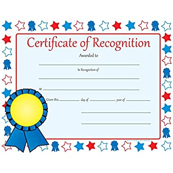 Amazon.com : Certificate of Recognition - Recognition Certificates ...