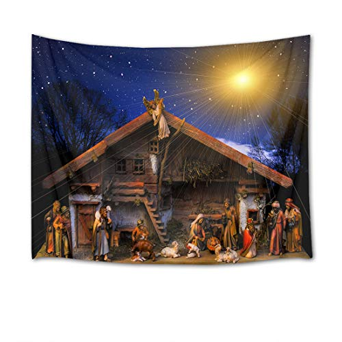 HVEST Christmas Tapestry Wall Hanging Starry Sky Tapestry Jesus Nativity Manger Scene Wall Blankets for Bedroom Living Room Dorm Decor,60Wx40H inches ()
