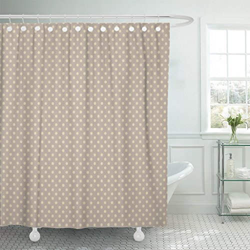 TOMPOP Shower Curtain Tan Chic Polka Dot Pattern Beige Shabby Cottage Neutral Waterproof Polyester Fabric 72 x 72 Inches Set with Hooks (Brown Polka Dot Shower Curtain)
