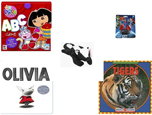 Explorer Game Dora Board The (Children's Gift Bundle - Ages 3-5 [5 Piece] - Dora the Explorer: ABC Game - Superman Figurine Toy - TY Beanie Baby - STINKY the Skunk - Olivia Board Book - Tigers (Animals I See at the Zoo) Paperbac)