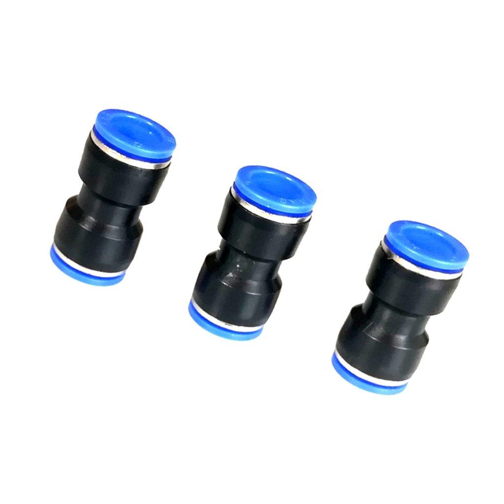 MagiDeal 3pcs 4mm/16mm Pneumatische Steckverbinder Gerader Stecker Push In Beschlag Luft/Wasserschlauch Rohr - Schwarz und blau- 8mm