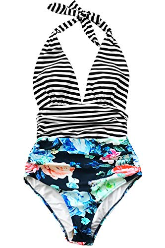 - CUPSHE Women's Stripe Halter One-Piece Swimsuit Black Stripe and Floral Swimwear, Small