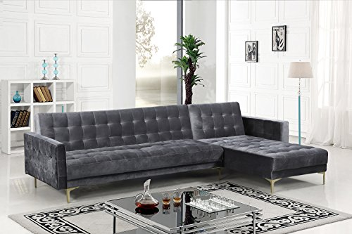 Iconic Home FSA9007-AN Amandal Convertible Sofa Sleeper Bed L Shape Chaise Tufted Velvet Upholstered Gold Tone Metal Y-Leg Modern Contemporary, Right Facing Sectional, Grey Velvet