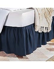 Amazon Basics Ruffled Bed Skirt - Twin, Navy Blue