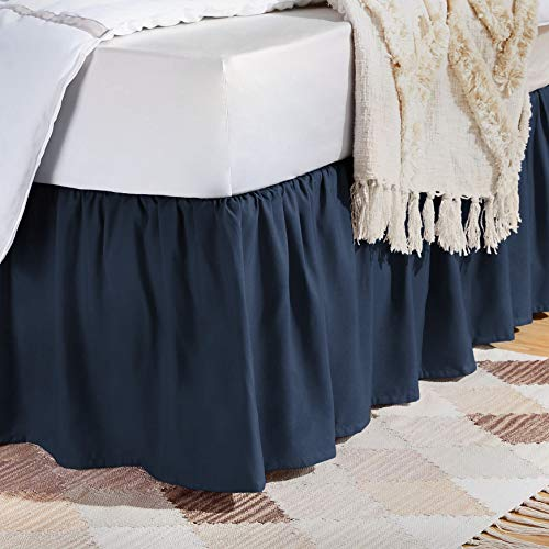AmazonBasics Ruffled Bed Skirt - King, Navy Blue