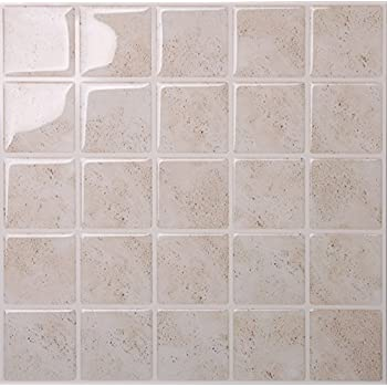 Tic Tac Tiles Anti Mold Peel And Stick Wall Tile In Marmo Travertine (5 Part 49