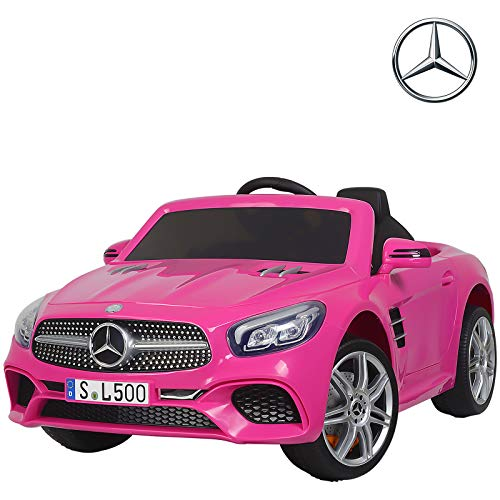 (Uenjoy 12V Licensed Mercedes-Benz SL500 Kids Ride On Car Electric Cars Motorized Vehicles for Girls, Remote Control, Music, Horn, Spring Suspension, Safety Lock, Pink)