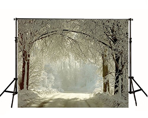 Kate 7ft(W)x5ft(H) Winter Street Backdrop for Photography Microfiber Snow Frozen Forest Tree Photo Backdrops for Studio (Tree Props)