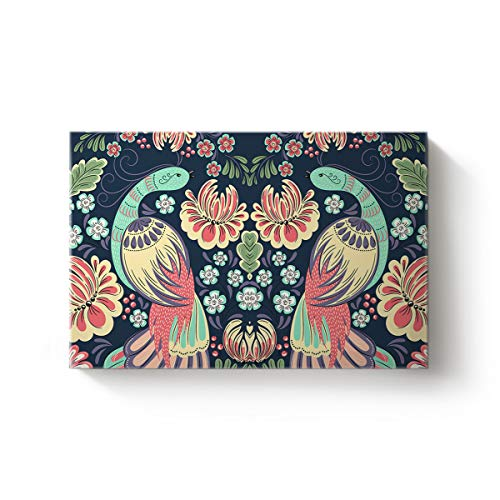 (YEHO Art Gallery 16 x 24 Inch Canvas Artworks Wall Art Home Decor,Chinese Style Phoenix with Flowers Birds Pattern Oil Painting,Stretched by Wooden Frame,Ready to Hang)