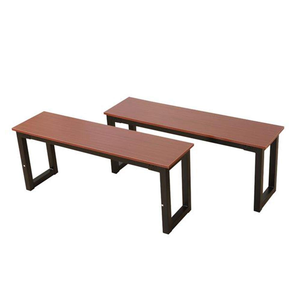 GOTOTOP 2pcs Simplistic Iron Frame Solid Wood and Sturdy Steel Frame Combined Dining Benches Suitable for Home Interior Courtyard or Balcony Teak Color (44.09'' x 11.81'' x 18.11'' L x W x H)