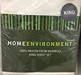 Home Environment White King Sheet Set 100% Rayon from Bamboo - Antibacterial Eco-friendly