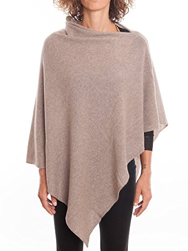 (DALLE PIANE CASHMERE - Poncho 100% Cashmere - Made in Italy, Color: Mink, One)