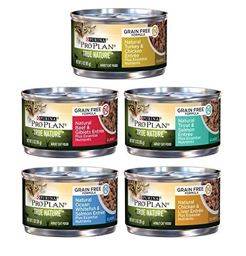 Purina Pro Plan True Nature Formulated Grain Free Cat Food Variety Pack, 5 Flavors, 3-Ounces Each (12)
