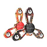 FengNiao Tri-Spinner Fidget Hand Spinner Camouflage Multi-Color Metal Finge, High Speed Bearing ,EDC Focus Toys For Kids & Adults (X9 Multi-Colour Black & Red)