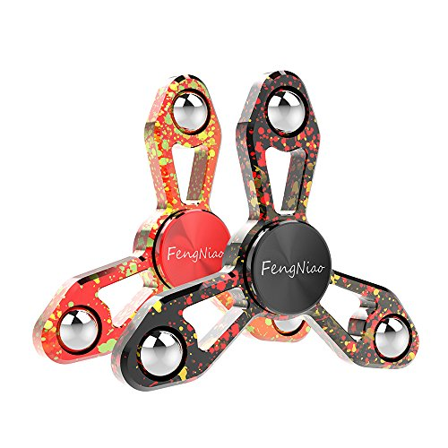 FengNiao Tri-Spinner Fidget Hand Spinner Camouflage Multi-Color Metal Finge, High Speed Bearing ,EDC Focus Toys For Kids & Adults (X9 Multi-Colour Black & Red) by FengNiao