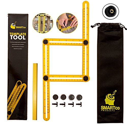 ULTIMATE Angleizer Template Tool - SALE!! -   - BEST GIFT FOR DIY, Foldable Tool With Metal Screws + Pencil   For Carpenters, Builders, DIY Projects   Measure, Mark, Make Angle Bulls Eyes & Arches
