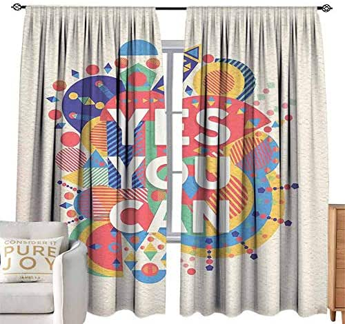 coolteey Sheer Curtains Quote,Yes You Can Colorful Typographical Poster Style Art Positive Encouraging Quote,Red Mustard W108 x L96 inch,Machine Washable