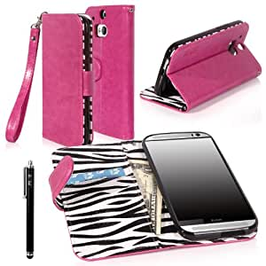 E LV Deluxe PU Leather Wallet Case with Card Slots and Premium Zebra Interior Design for HTC One M8 with 1 Stylus-Purple