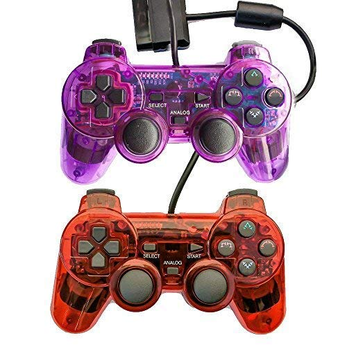 (Saloke Wired Gaming Controller for Ps2 Double Shock (Clear Purple and Clear Red1))