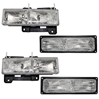 Driver and Passenger Composite Headlights & Front Signal Marker Lamps Replacement for Chevy GMC Pickup Truck SUV