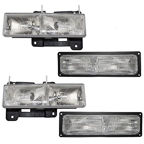 Composite Headlights & Front Signal Marker Lamps Driver and Passenger Replacements for Chevy GMC Pickup Truck SUV ()