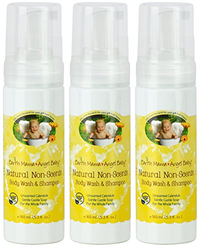 Earth Mama Angel Baby Non-Scented Shampoo and Body Wash, 3 (Angel Scented Shower Gel)