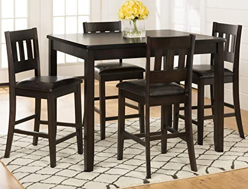 Jofran , Planation, 5 Pack Counter Height Set, Counter Height Table, 36 W X 48 D X 36 H, Barstool, 17 W X 18.5 D X 40 H, Dark Rustic Prairie Finish, Set of 1