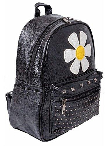Ladies Women Travel Studs EmartbuyStudded Shoulder Fashion Flower Backpack Bag Rucksack Girls Backpack Zip 5dq1xP8