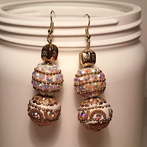 Bejeweled Off White and Gold with Iridescent White and Rhinestone Beads BOHO Dangle Earrings.