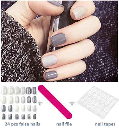 editTime 24PCS Colorful Acrylic False Nails Full Cover Short Square Press on Fake Nails Art Gel Tips Manicure Nails Sets (Ivory+grey+cinerous) -