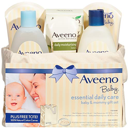 Aveeno Baby Essential Daily Care Baby & Mommy Gift Set featuring a Variety of Skin Care and Bath Products to Nourish Baby and Pamper Mom, Baby Gift for New and Expecting Moms, 6 items (Baby Stuff For Both Genders)