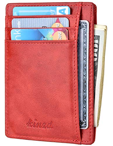 Slim Wallet RFID Front Pocket Wallet Minimalist Secure Thin Credit Card Holder,Red,One Size