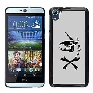 """For HTC Desire D826 Case , Unicornio gris Caballo divertido Negro"""" - Diseño Patrón Teléfono Caso Cubierta Case Bumper Duro Protección Case Cover Funda"""