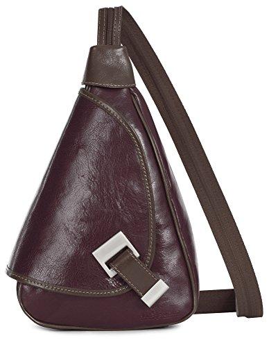 'Mila' de LiaTalia - 2en1 - Pequeño bolso de hombro para mujer ligero y convertible en mochila en auténtica piel italiana Rojo Obscuro / Vino - Con Borde Marrón